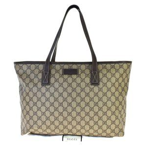 GUCCI GG Pattern Tote Shoulder Bag PVC Leather Bro